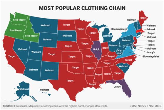 美国各州最受欢迎服装商店名单出炉:两巨头争地盘,优衣库上榜